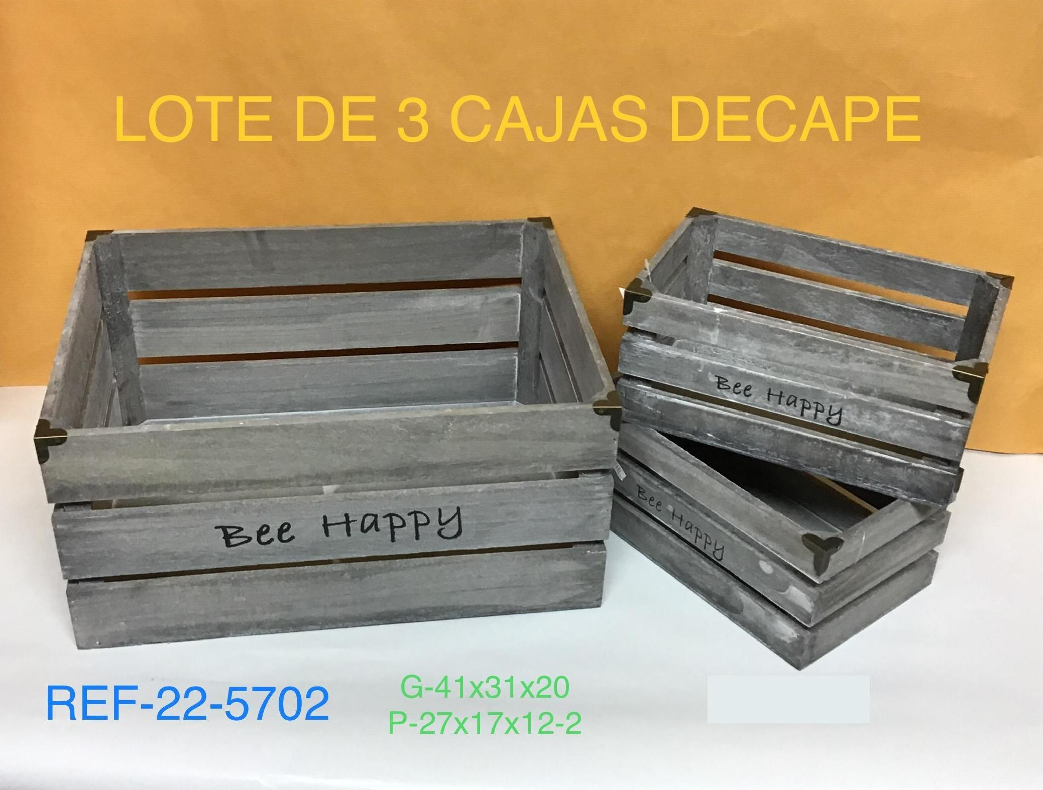 LOTE 3 CAJAS MADERA DECAPE BEE HAPPY