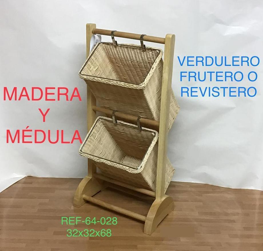 64-028 REVISTERO PIE MAD 2 CAJ MEDULA32X32X68