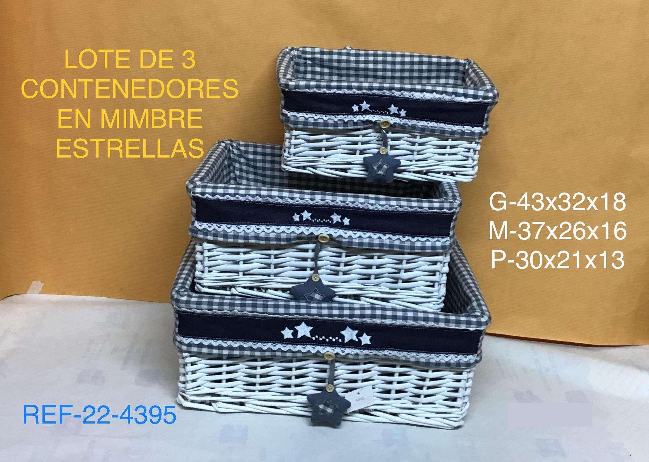 22-4395 LOTE 3 CAJONES FORRO GRIS  CORAZONES 42X30X17