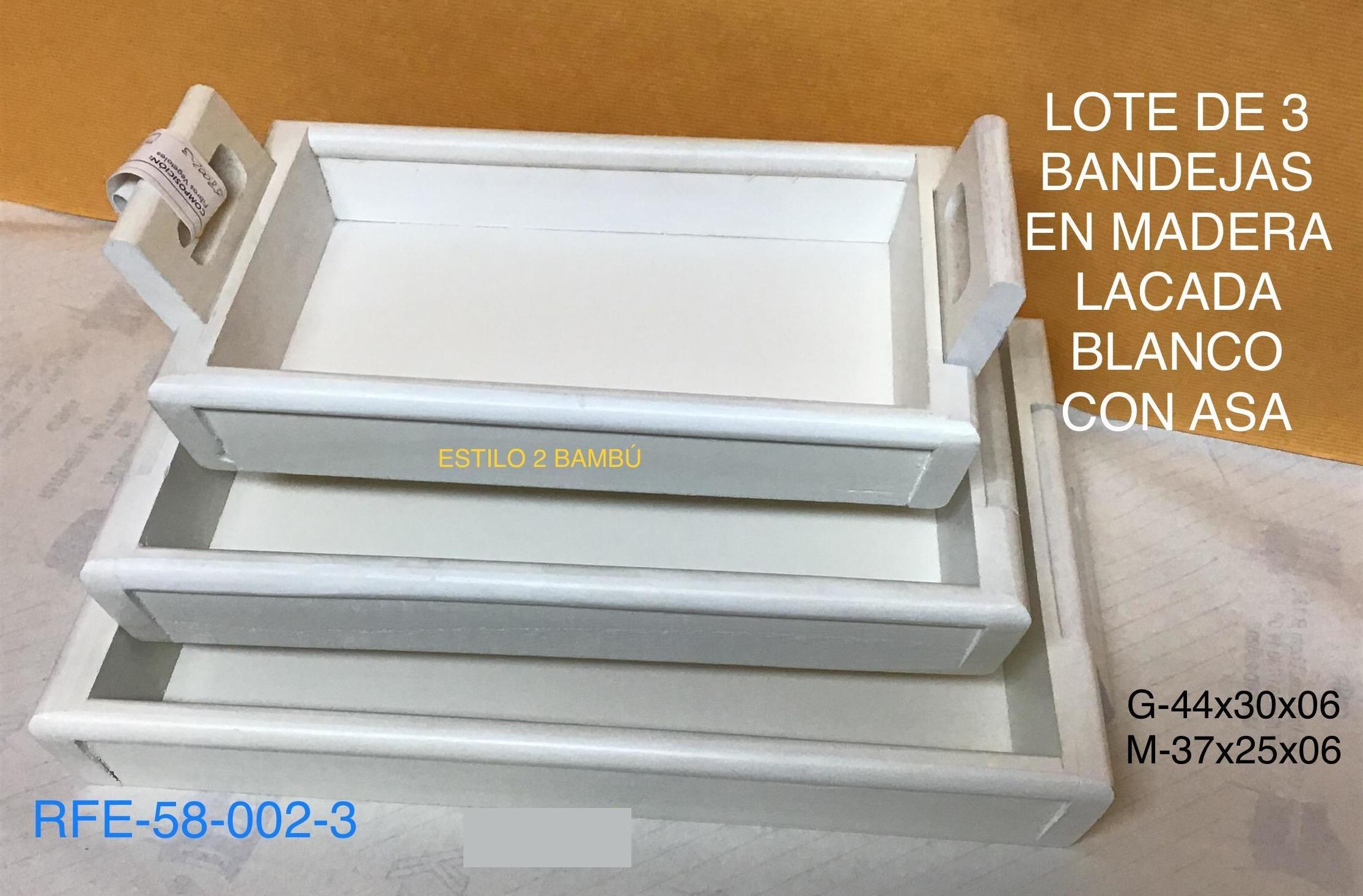 58-002-3 SET 3 BANDEJAS BLANCAS ASA ABATIBLE G44X30X6