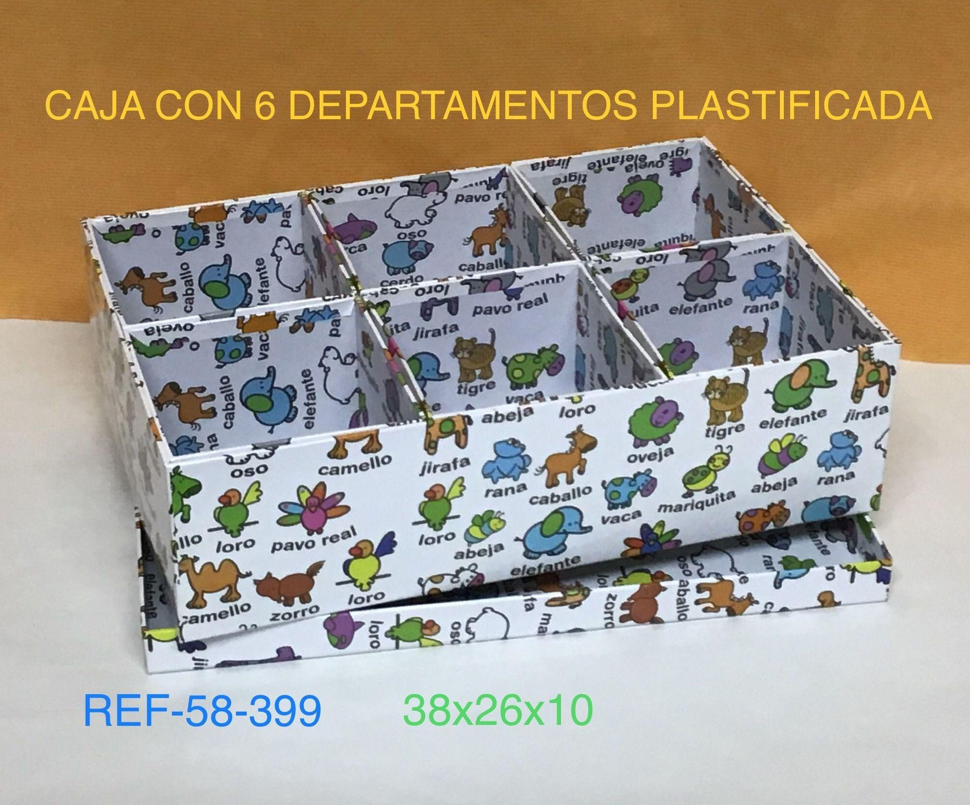 58-399 CAJA 6 HUECOS ANIMALITOS 37,5X25,5X10,5
