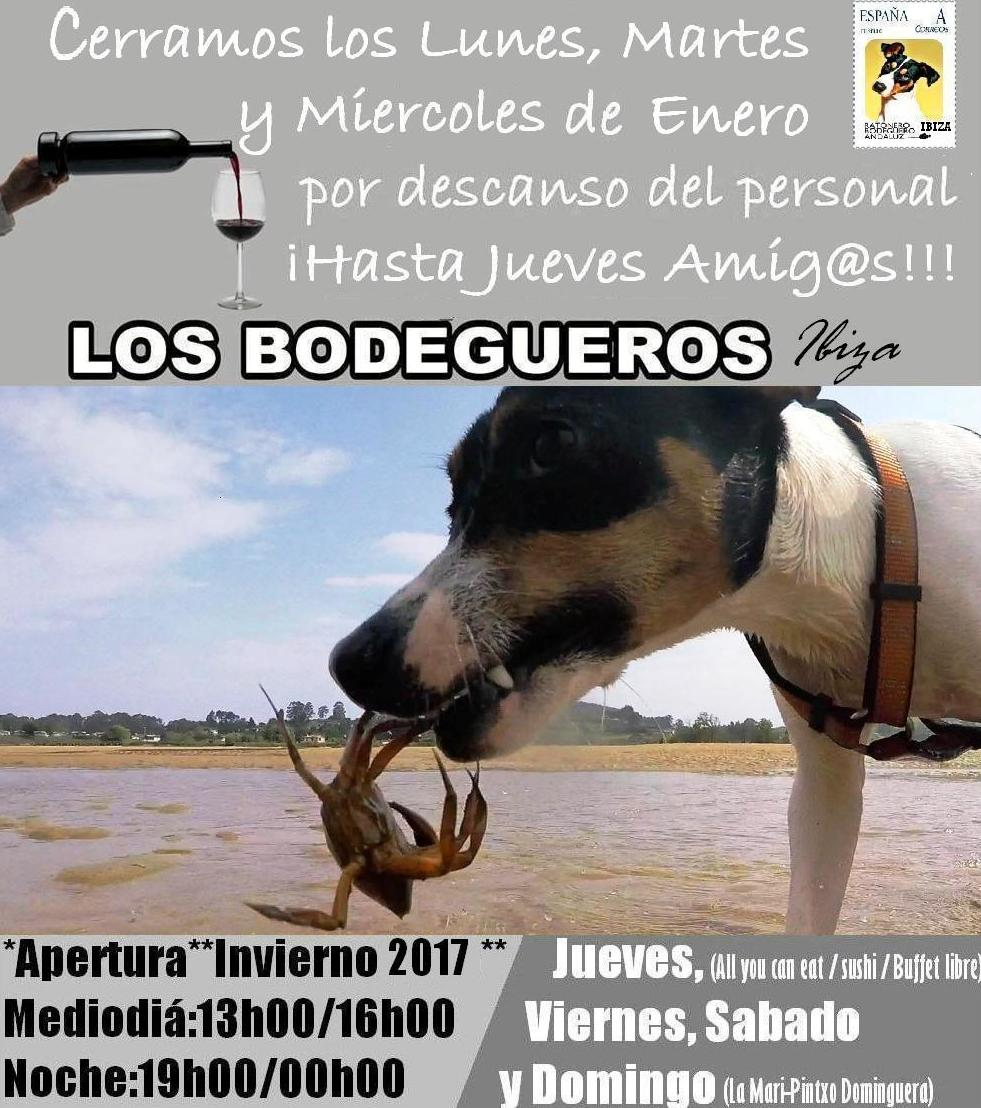 LOS BODEGUEROS, horarios de Invierno 2017