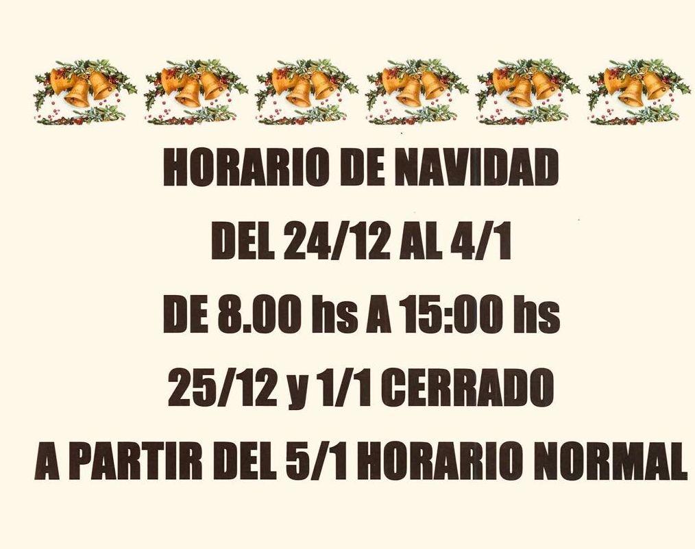HORARIO PARA ESTAS FIESTAS!!!!!