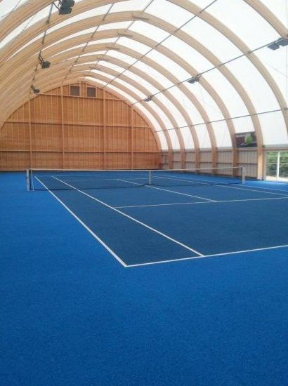 Pista de tenis INDOOR, sistema CUSHION (goma)