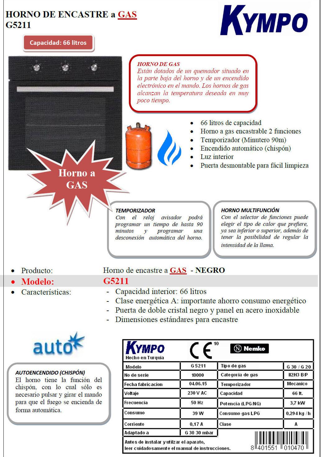 Horno a gas KYMPO: Catálogo de apluscocinas