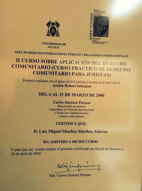 Título sobre Curso de Derecho Comunitario para Juristas