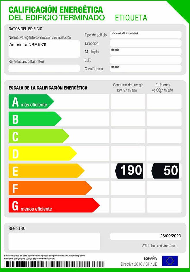 Etiqueta Energetica de vivienda