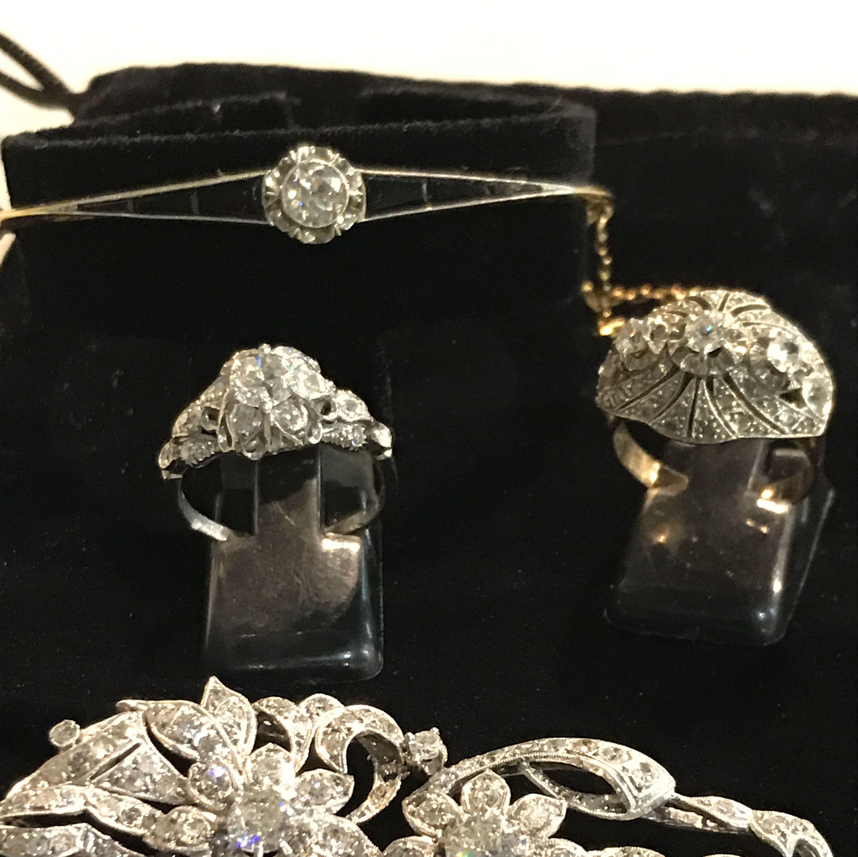 joyas artdeco (broche, pulsera y anillos) platino oro 18k y diamantes