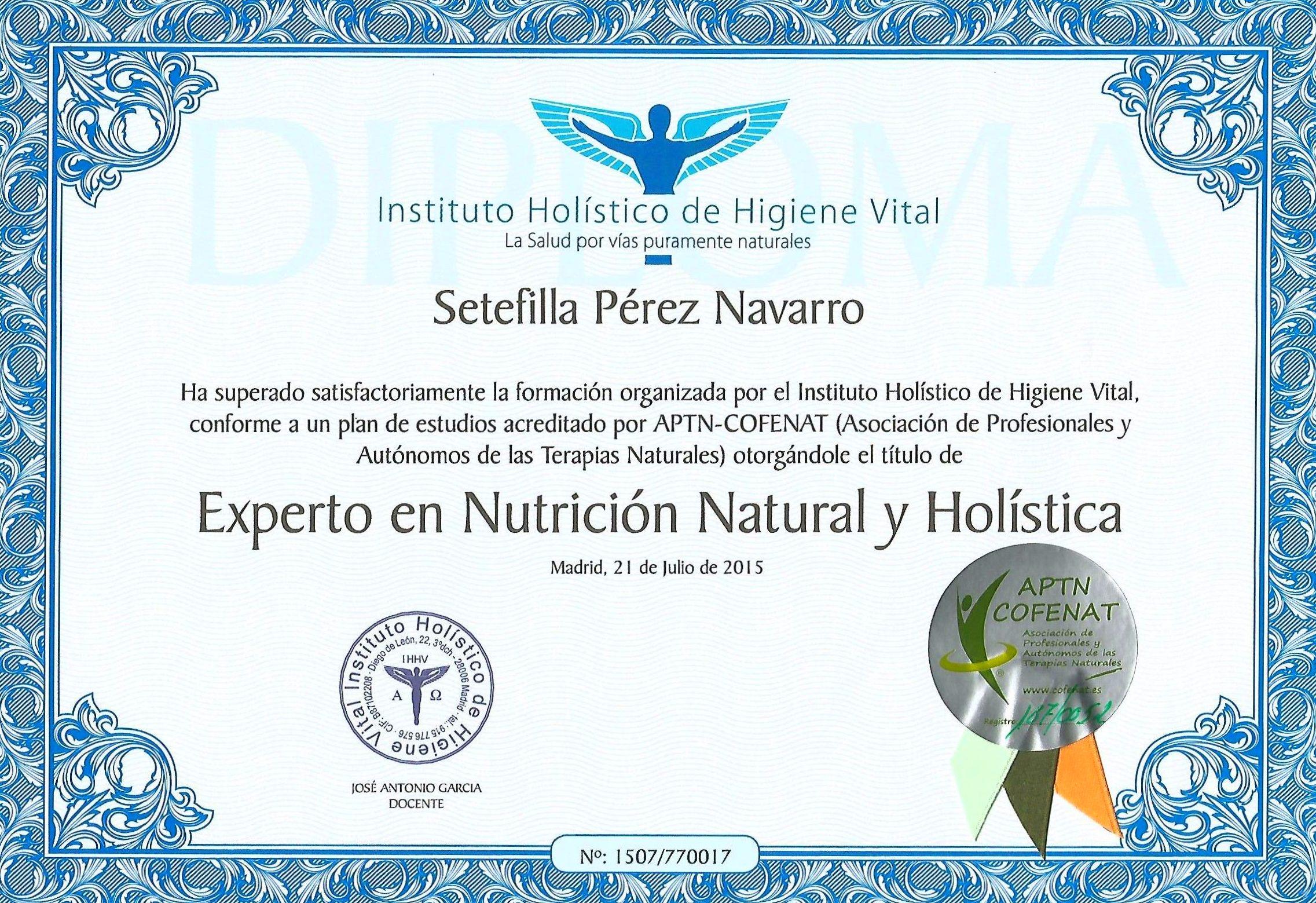 Experta en Nutrición Natural y Holística