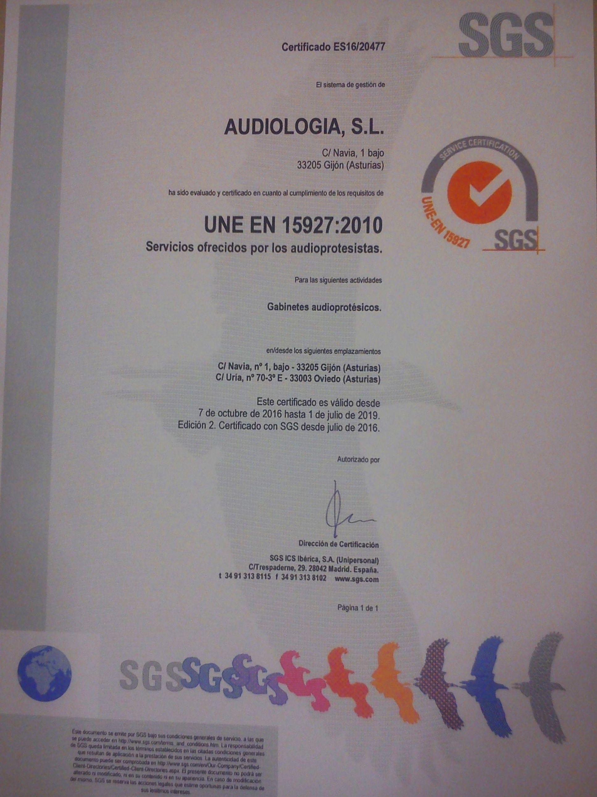 CERTIFICADO DE CALIDAD UNE-EN 15927:2010
