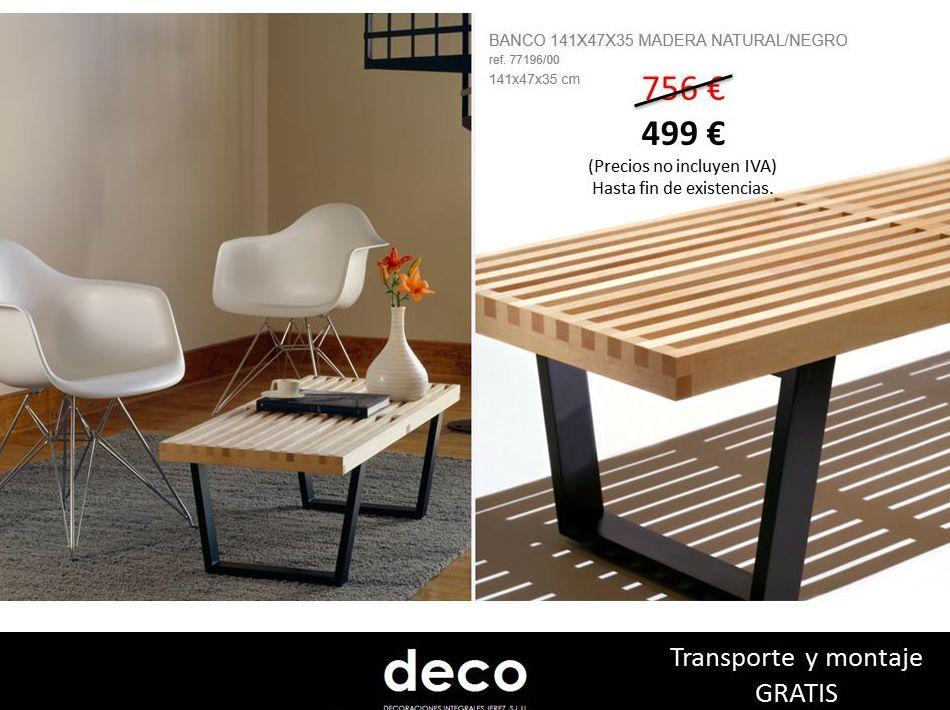 Banco de diseño de madera natural