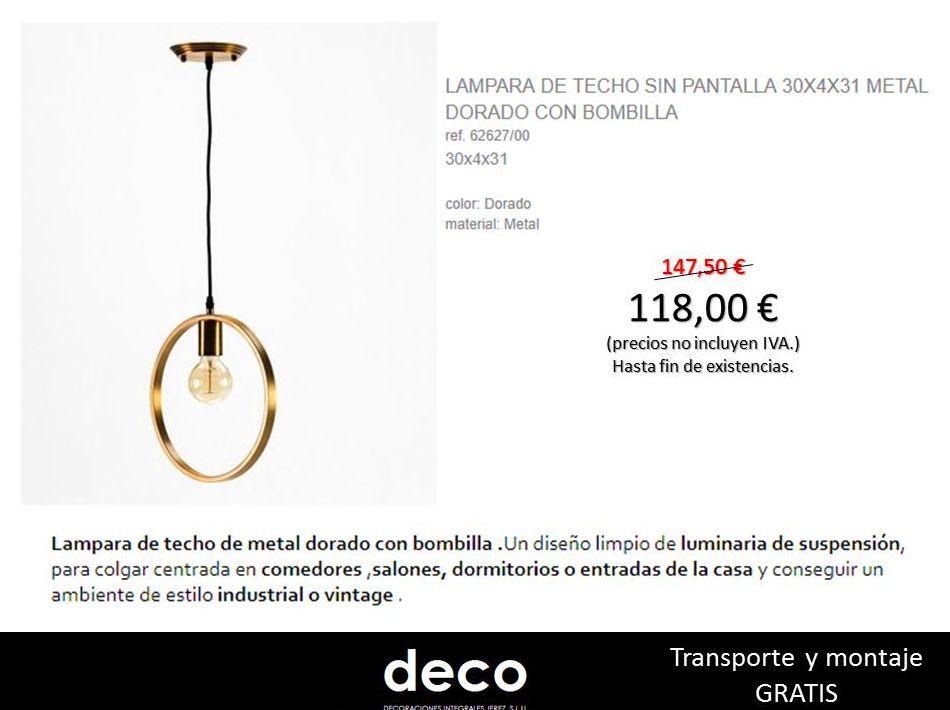 LAMPARA DE TECHO 30X4X31 METAL DORADO CON BOMBILLA