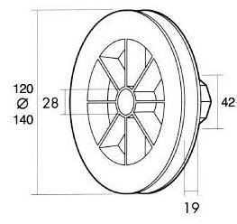 Disco de plástico compacto con alojamiento para rodamiento
