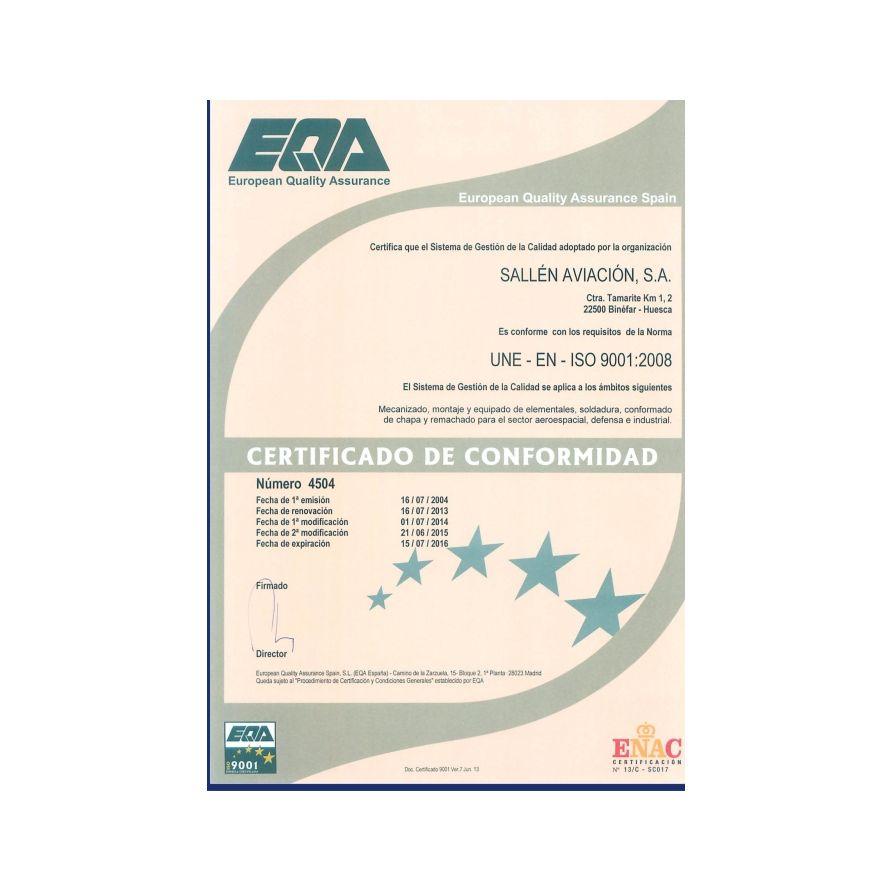 Certificaciones: Servicios de Sallén Aviación