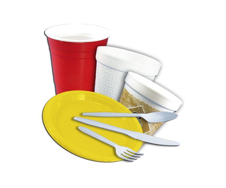 Vasos, platos y cubiertos de plástico