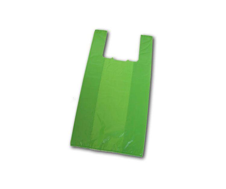 Bolsa de plástico tipo camiseta color verde