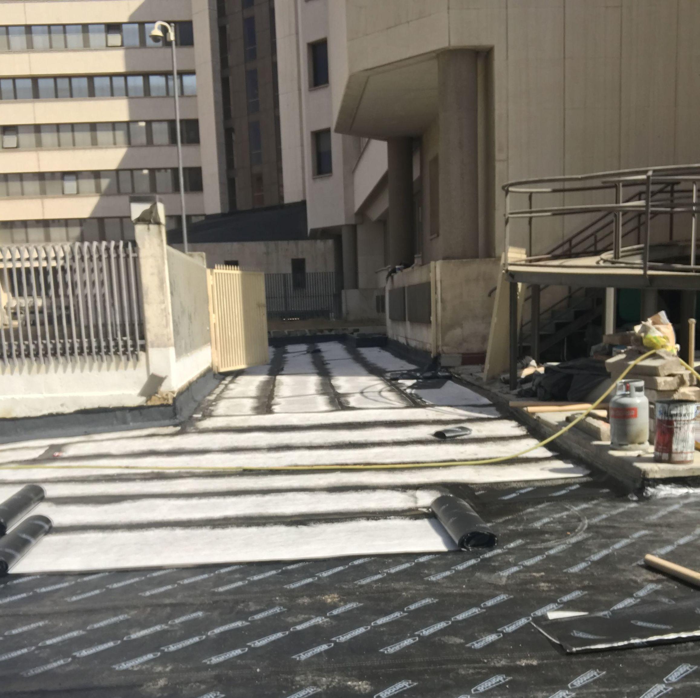 Impermeabilización bituminosa con doble lámina. Juzgados de Plaza de Castilla (Madrid)