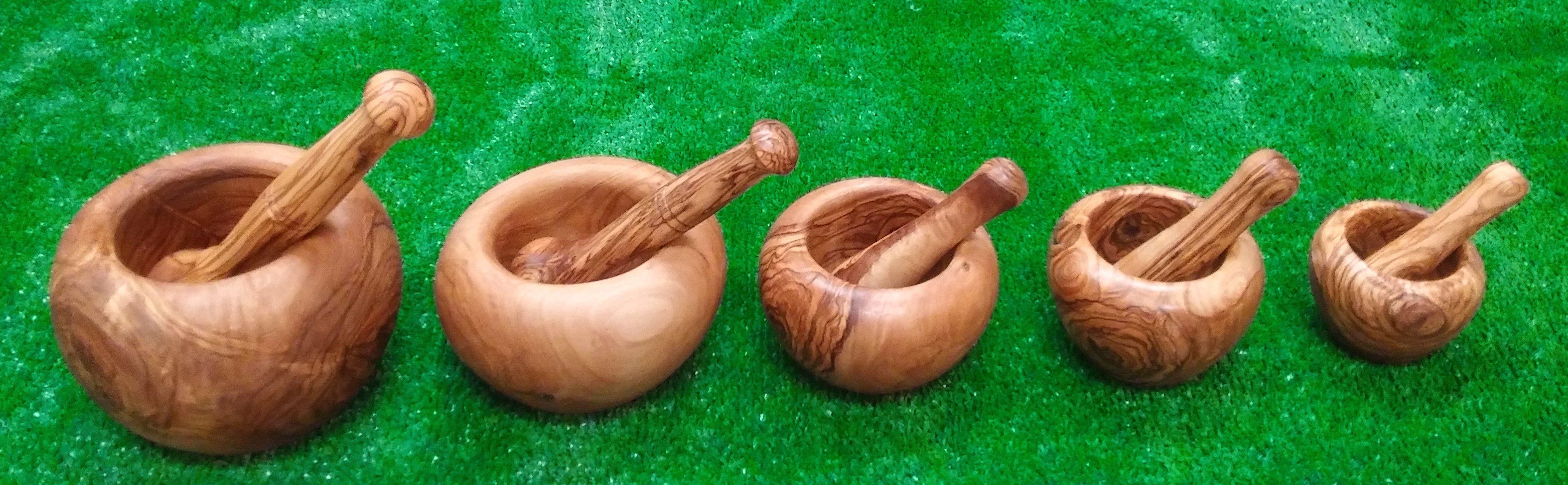 Morteros de madera de olivo