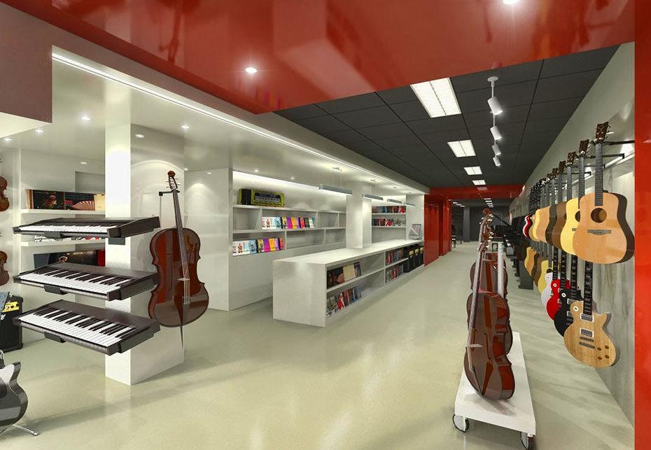 Diseño de local comercial para tienda de instrumentos musicales en Barcelona.