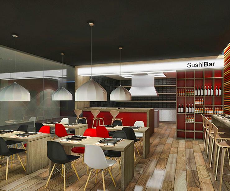 Diseño de local comercial para franquicia de Sushi Bar en el Vallès