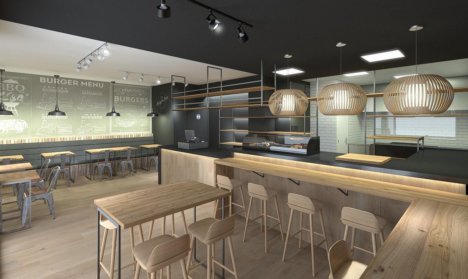 GL7 Diseño de burger/sushi-bar: Servicios y Proyectos de XTE INTERIORISMO