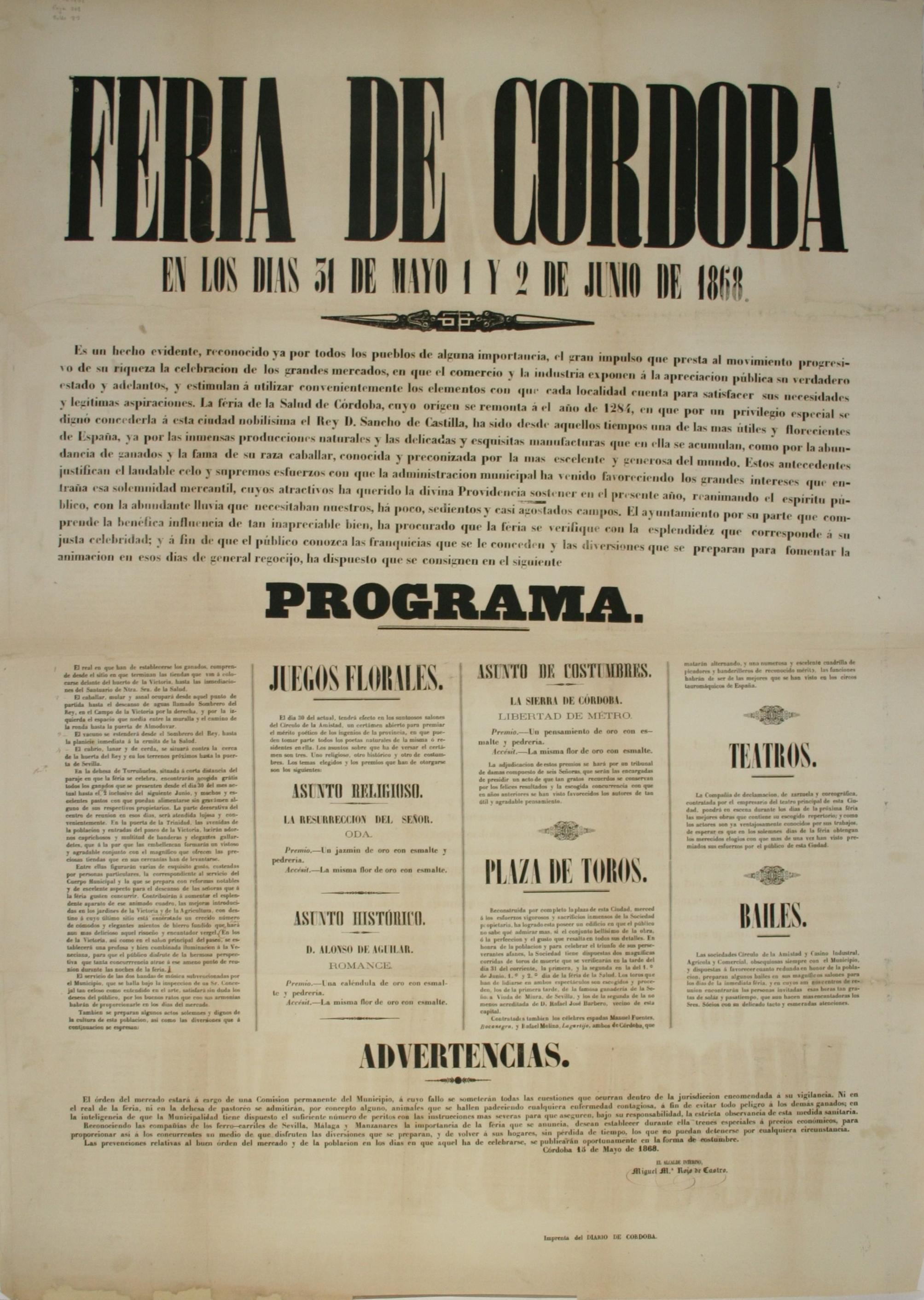 Cartel de la feria de Córdoba 1868
