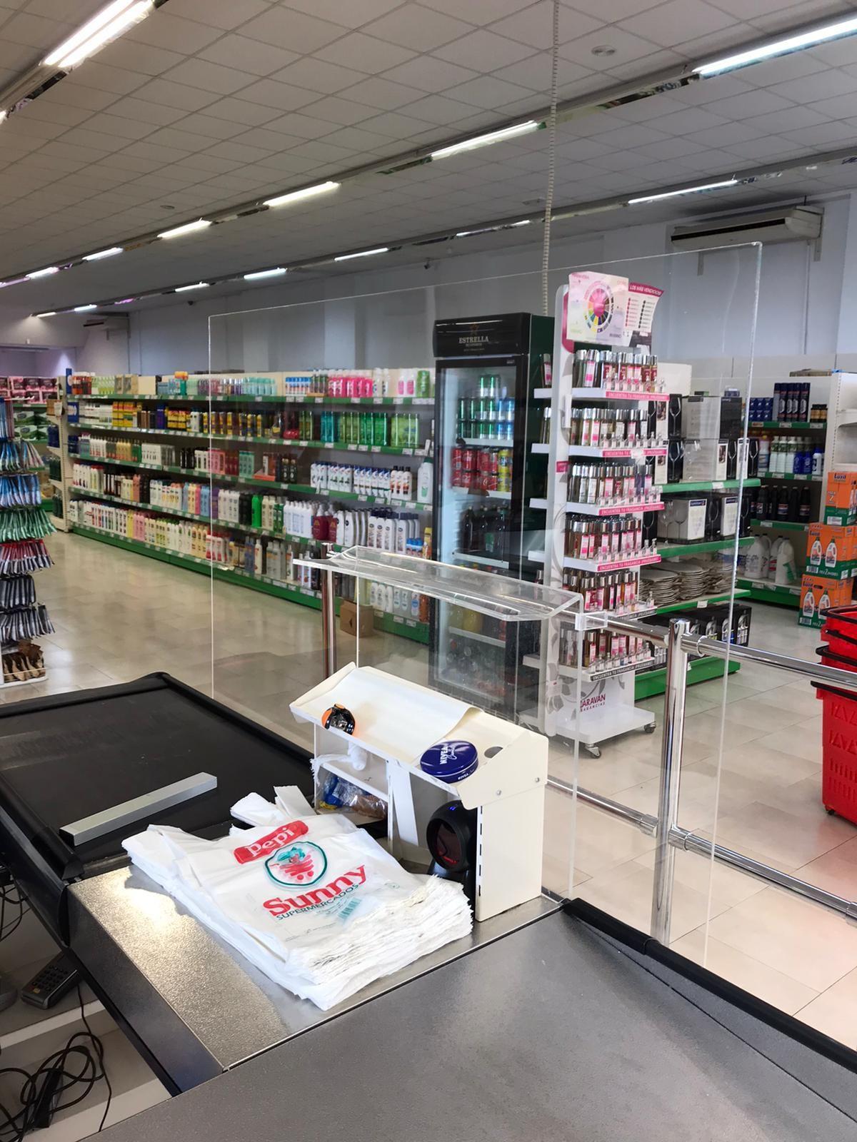 Mamparas para supermercados.