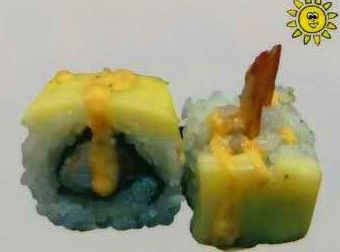 Tempura langostino y queso brie
