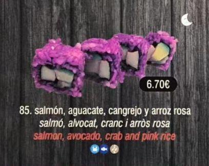 Salmón, aguacate, cangrejo y arroz rosa: Carta de DANI LIU