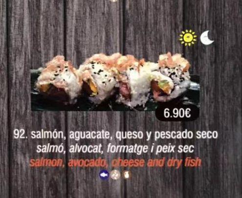 Salmón, aguacate, queso y pescado seco: Carta de DANI LIU