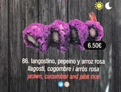 Langostino, pepino y arroz rosa: Carta de DANI LIU