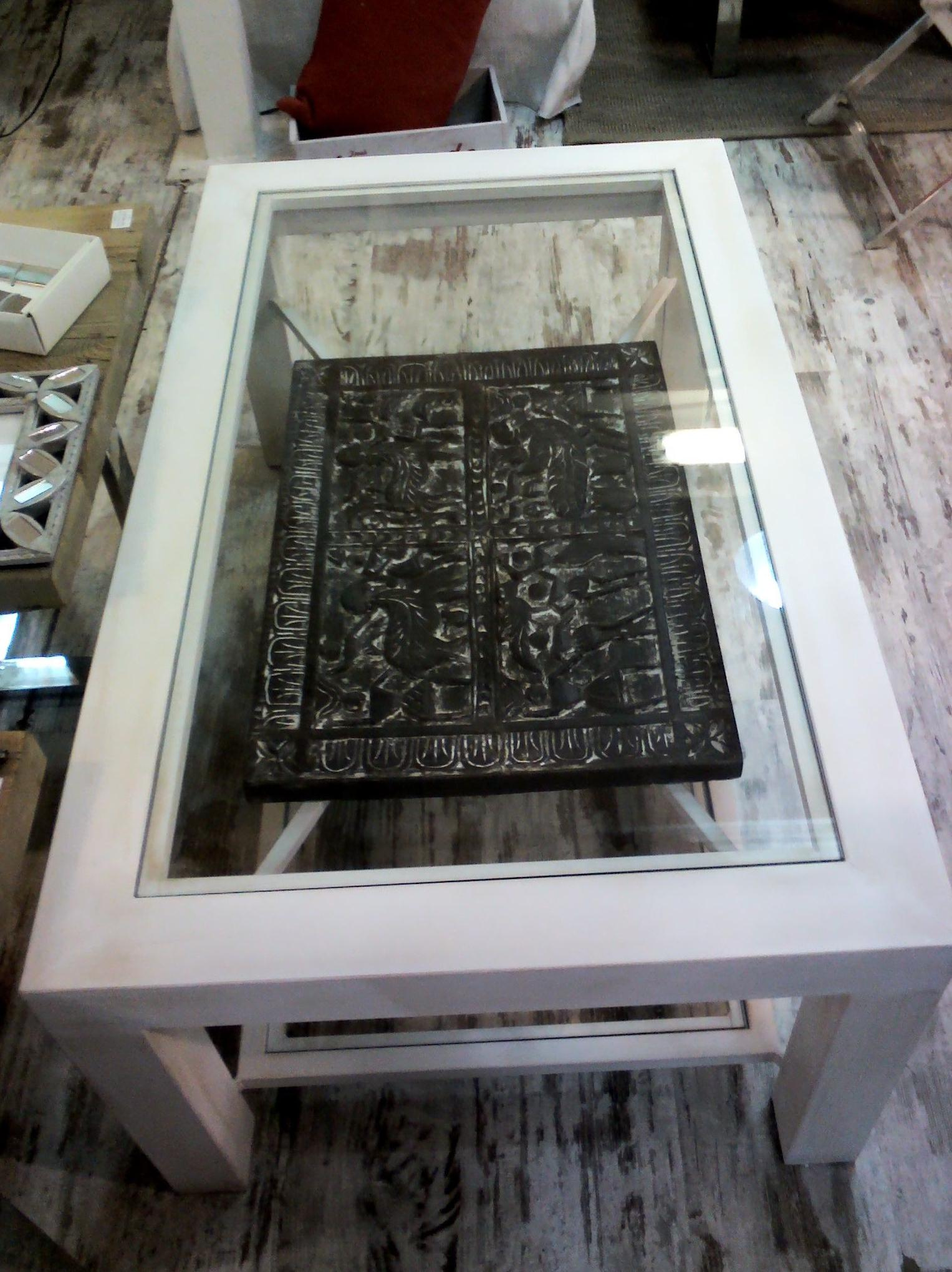 MESA CENTRO EN HIERRO PATINA BLANCA PANEL TRIBAL