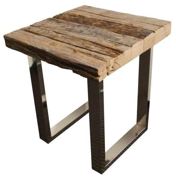 mesa  auxiliar 45x45 vigas patas nickel