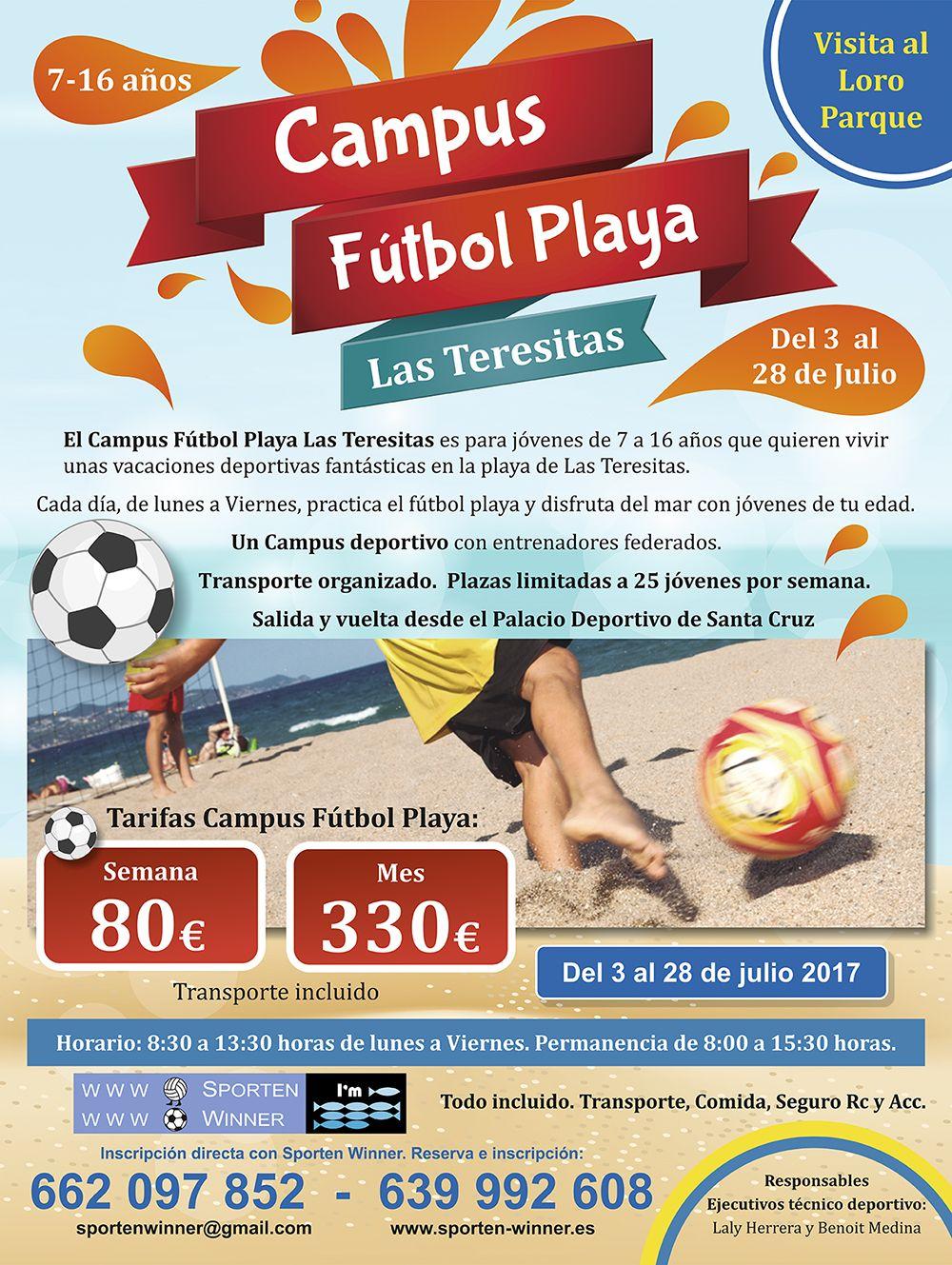 Campus fútbol Playa Las Teresitas (nuevo en 2017): Campamentos de Sporten Winner & Educación Activa