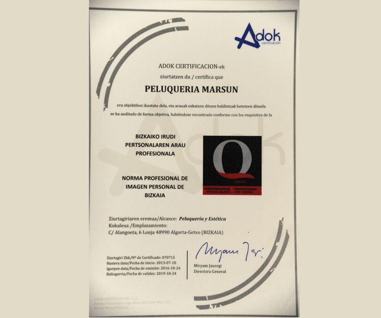Peluquería con certificado de calidad