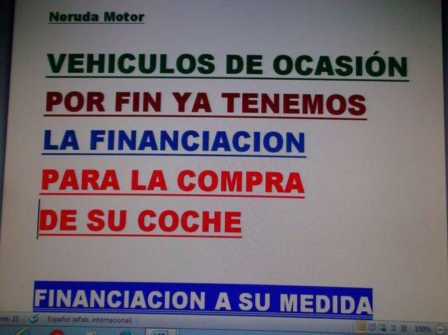 FINANCIACION DE LA COMPRA DE SU COCHE O FURGONETA EN NERUDA MOTOR  913801754
