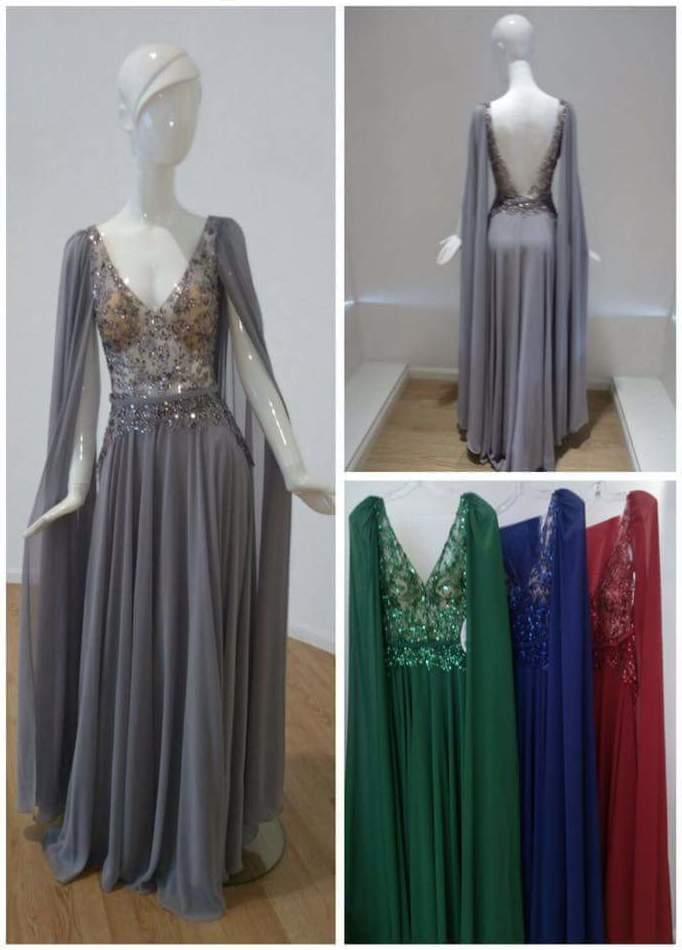 Vestido largo de fiesta con diferentes colores