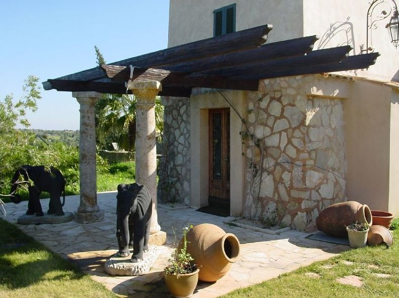 PERGOLA HORMIGON IMITACION MADERA COLOR NOGAL