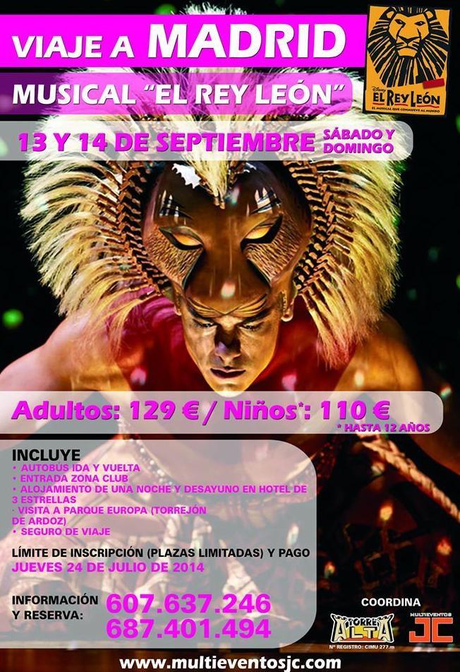 Viaje a Madrid desde Murcia, Viaje a musicales Madrid, Viajes Torre Alta, Alquiler de autocares Murcia, Viajes para ver El Rey Leon en Madrid