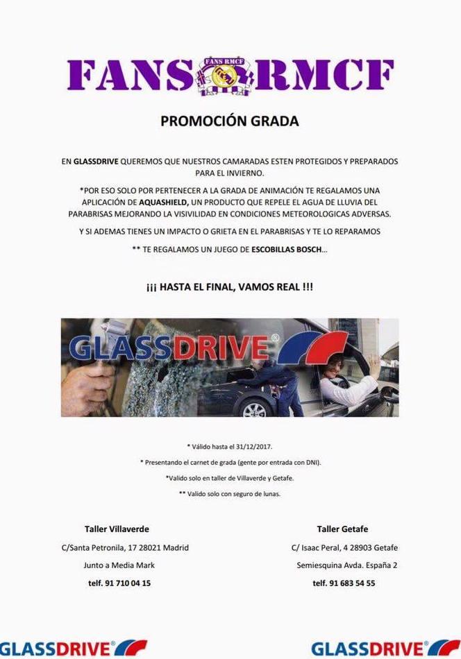 Glassdrive Getafe en colaboración con la grada fans del Real Madrid