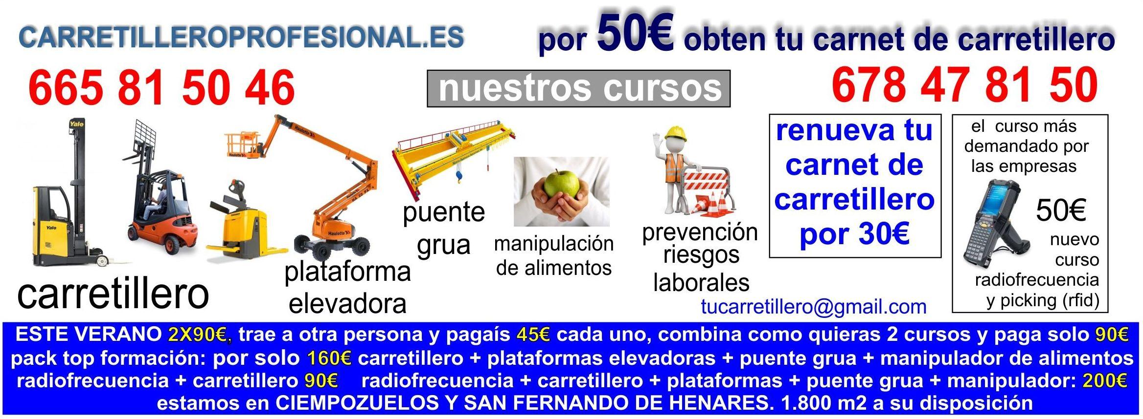 Ofertas cursos carretillero, plataforma, puente grúa en Madrid