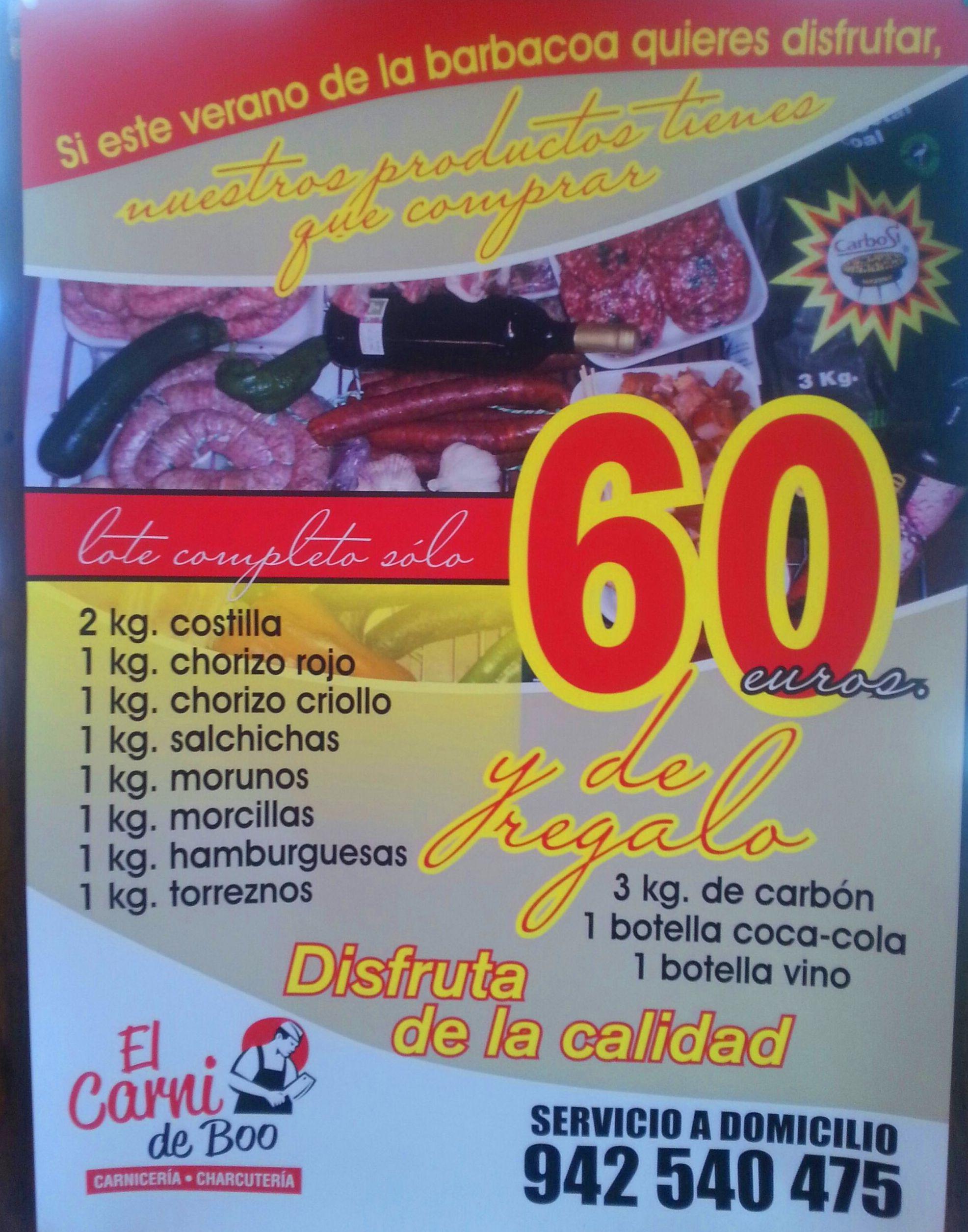 ¡¡¡Lote 9Kg. Especial Barbacoa para el Verano por 60€, y carbón, coca-cola y vino de regalo!!!
