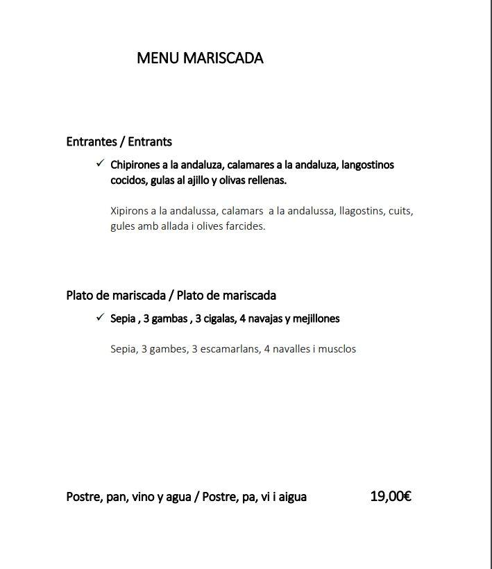 Menú Mariscada: Servicios de Restaurant Masía Villa Orce