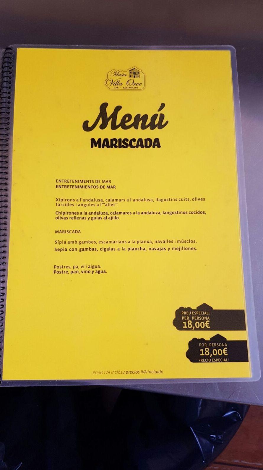 Menú Mariscada