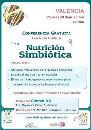 Conferencia Gratuita sobre Nutrición Simbiótica; Viernes 28 de septiembre, 2018, 19.30h. Centro Do,