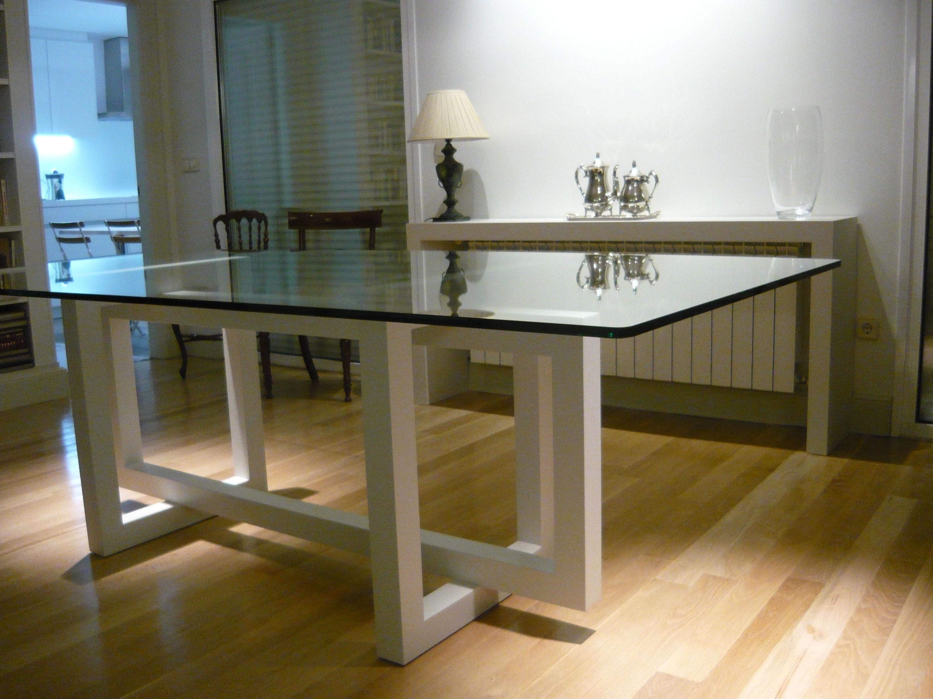 Mesa cristal salon