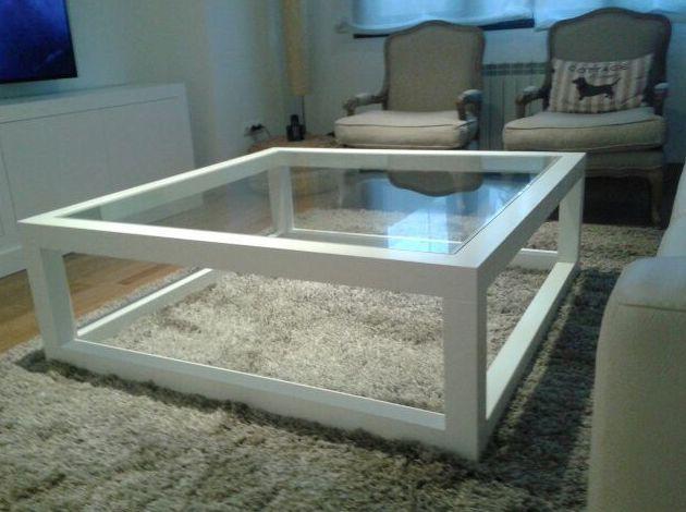 mesas baja de cristal y madera blanca