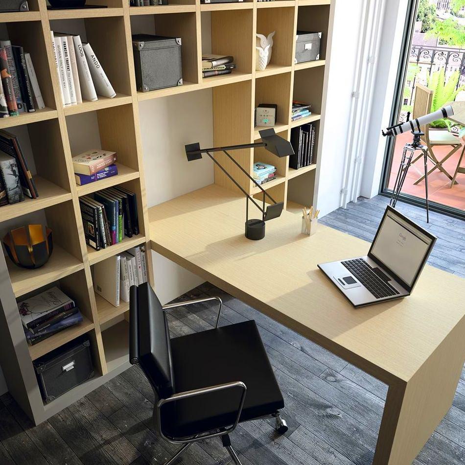 estantería y mesa de trabajo