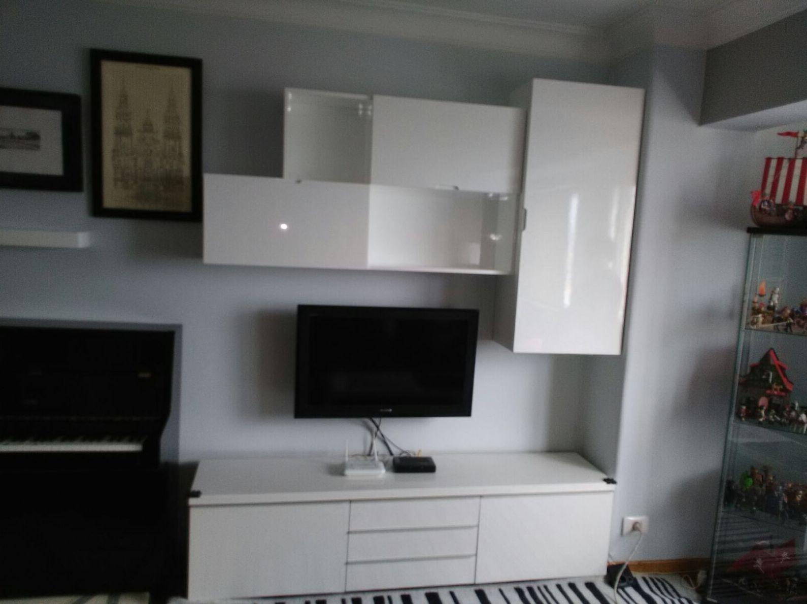 Mueble modular salón lacado en blanco brillo