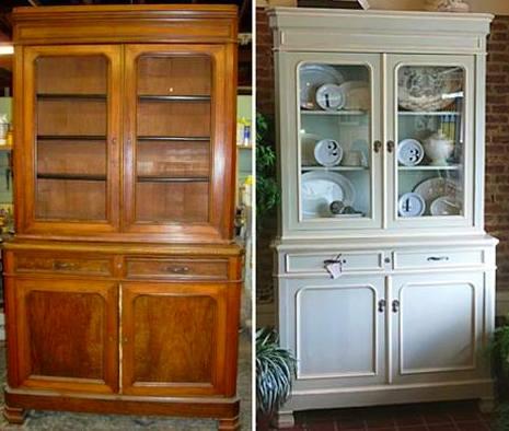 antes y después de la restauración de este mueble